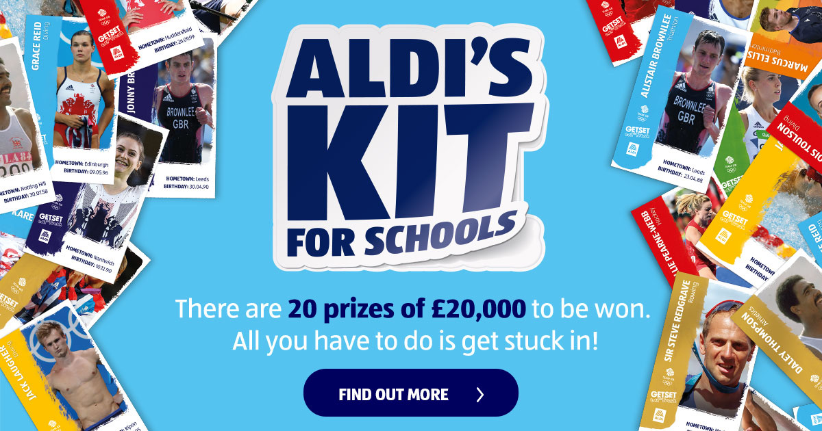 Image result for aldis kit win 20000 for your primary school