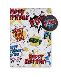 'POW' Design Birthday Wrap