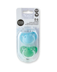 Tiggy 0-6 Green/Blue Soothers 2 Pack