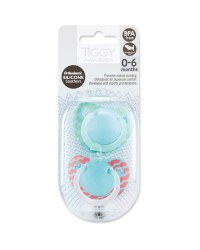 Tiggy 0-6 Red/Green Soother 2 Pack