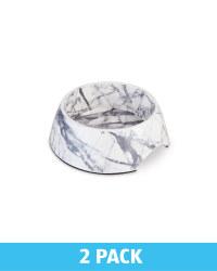 Medium Cream Marble Pet Bowl 2 Pack
