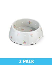 Large Grey Floral Pet Bowl 2 Pack