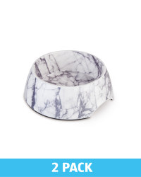 Large Cream Marble Pet Bowl 2 Pack