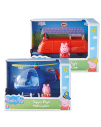 Peppa Pig Car And Helicopter Set