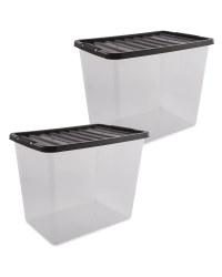Black 80L Storage Box 2 Pack
