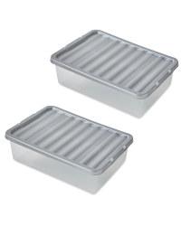 Silver 32L Underbed Storage 2 Pack