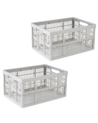 Grey Folding Crate 2 Pack