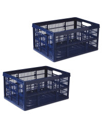 Blue Folding Crate 2 Pack