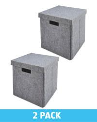 Grey Felt Storage Cube 2 Pack