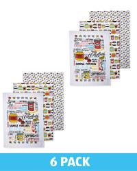 Toppings Printed Tea Towels 6 Pack