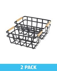 Black Wire & Wood Storage Basket 2Pk