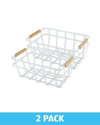 White Wire & Wood Storage Basket 2Pk