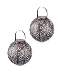 Gold Moroccan Solar Lantern 2 Pack