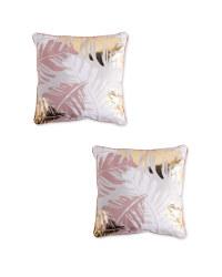 Pink Leaf Statement Cushion 2 Pack