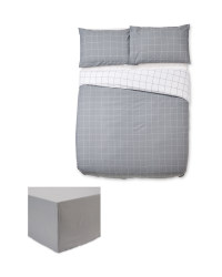 Grey Double Duvet Set & Sheet