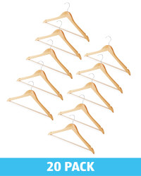 Natural Wooden Hangers 20 Pack
