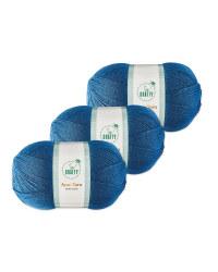 Petrol Blue Aran Yarn 3 Pack