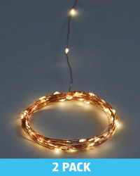 Copper Warm White Wire Lights 2 Pack