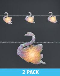 Sequin Swan Garland Lights 2 Pack
