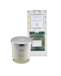 White Candle And Reed Diffuser Set