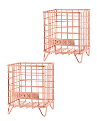 Rose Gold Home Mini Wire Storage 2Pk