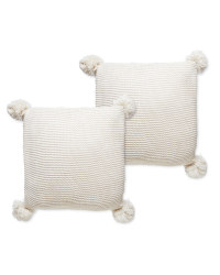 Cream Knit Cushion With Pom - 2 Pack