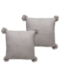 Grey Knit Cushion With Pom - 2 Pack