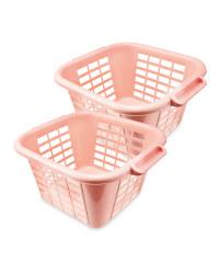 Addis Pink Laundry Basket 2 Pack
