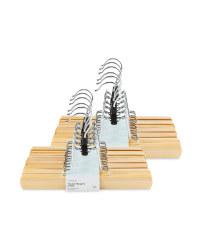 Natural Wood Trouser Hangers 12 Pack