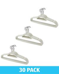 Grey Flocked Coat Hangers 30 Pack