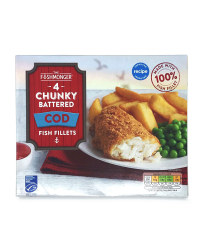 4 Chunky Battered Cod Fish Fillets