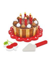 Wooden Chocolate Birthday Cake