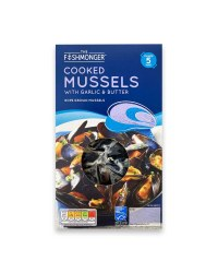 Cooked Mussels With Garlic & Butter