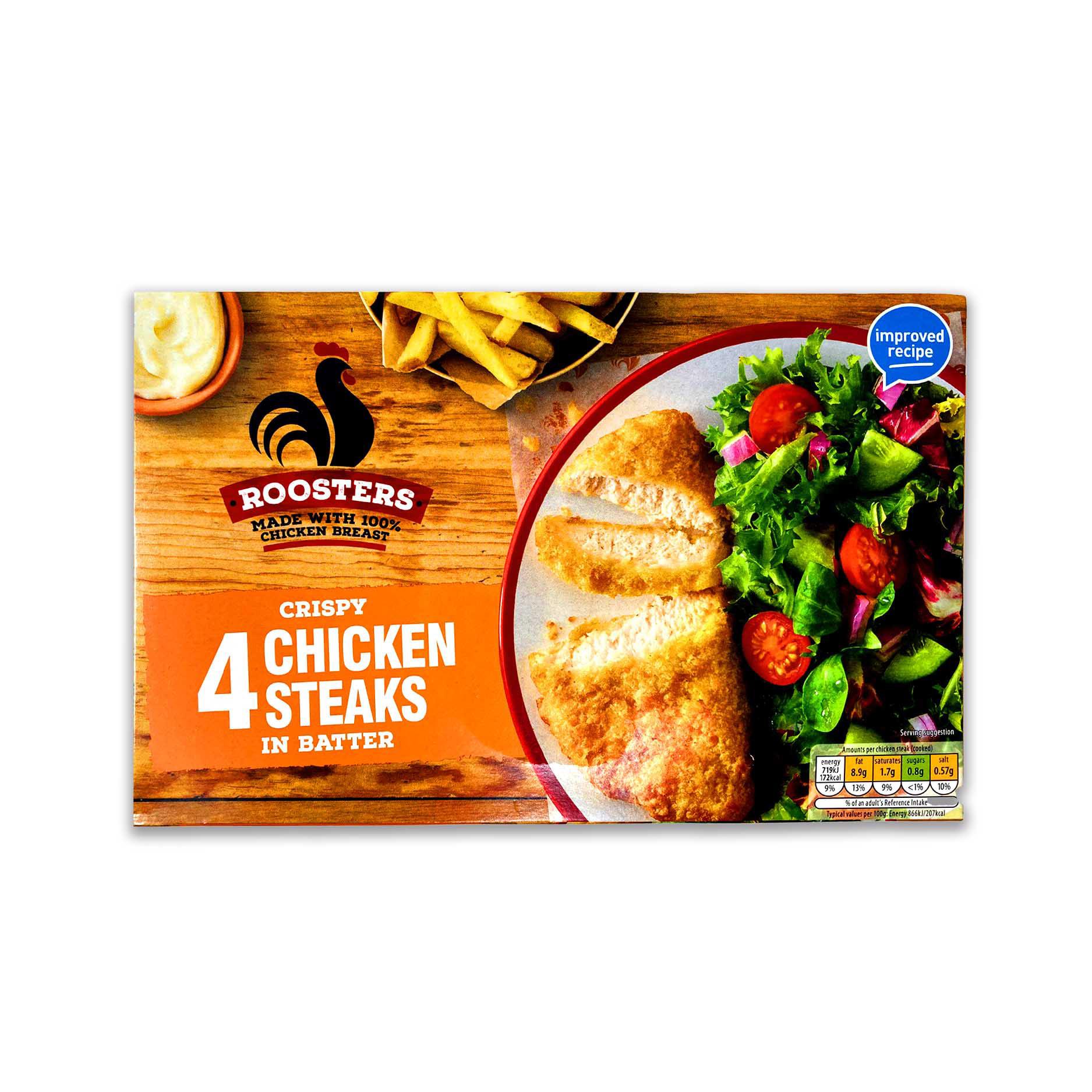 4 Crispy Chicken Steaks In Batter