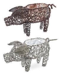 Rattan Effect Pig Planters