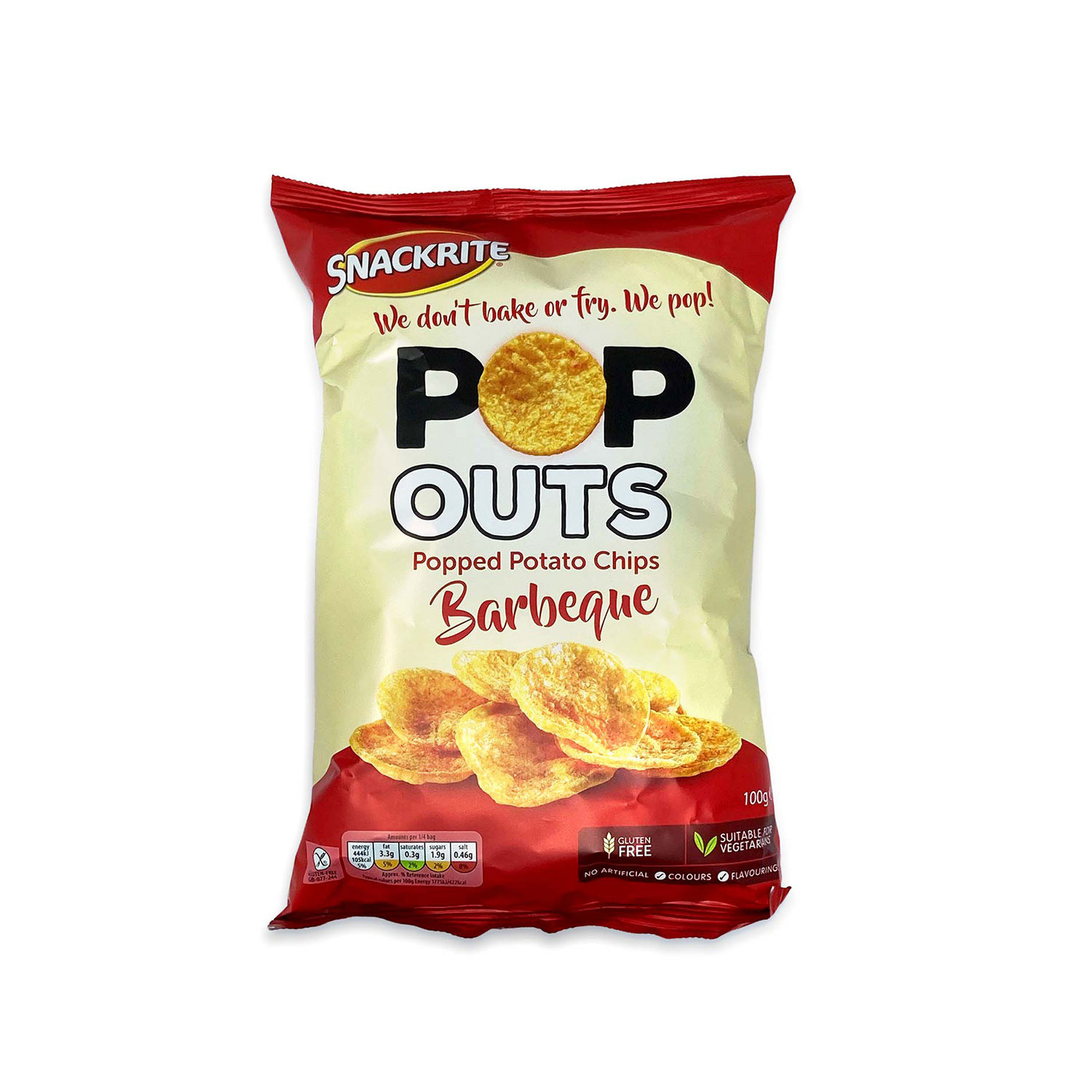 Pop Outs Popped Potato Chips BBQ