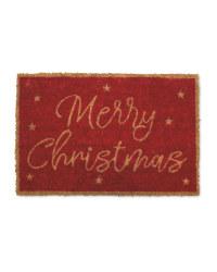 Red Merry Christmas Coir Mat