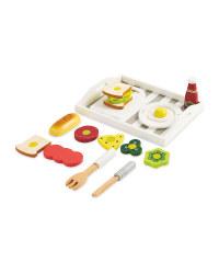 Wooden Breakfast Tray 19-Piece Set