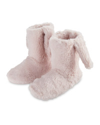Pink Plush Bunny  Slipper Boots