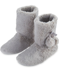 Grey Plush Bow Slipper Boots