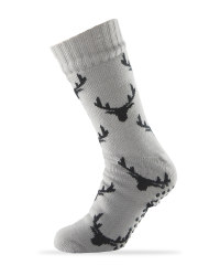 Sherpa Fleece Stag Slipper Socks