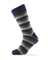Sherpa Fleece Stripe Slipper Socks