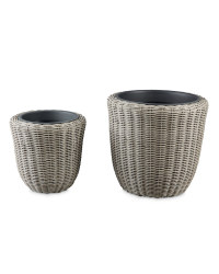Set of 2 Rattan-Effect Planters
