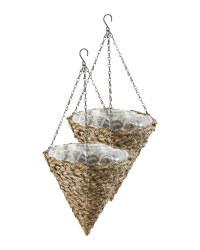12'' Dark Cone Hanging Baskets Set