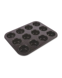 12 Cup Muffin Tray - Black