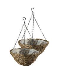 "14"" Dark Basket Hanging Baskets Set"