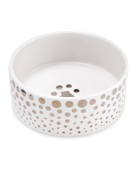 15cm Silver Ceramic Pet Bowl