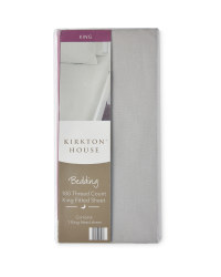 180 Thread Count King Fitted Sheet - Grey