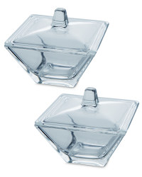 2 Glass Trinket Boxes