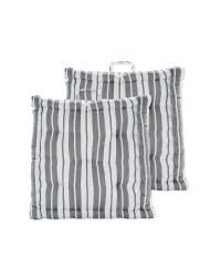 Grey Stripe Garden Cushion Seat Pads